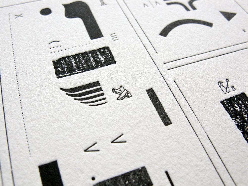 Detail of Hieroglyphic Silence I, letterpress, 2017