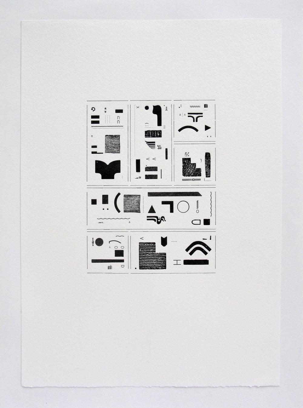 Hieroglyphic Silence I , letterpress, 2017