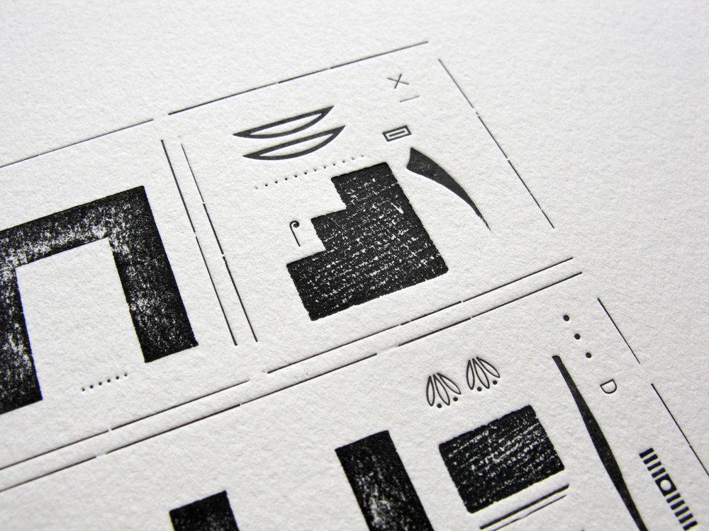Detail of Hieroglyphic Silence II , letterpress, 2017
