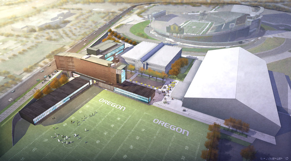 Aerial viewpoint showing the relationship of the new expansion with the existing facility and Autzen Stadium beyond.