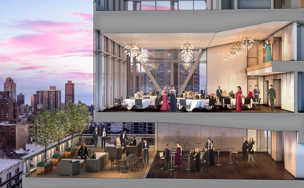 Section perspective of the banquet hall on levels 14 - 16, showing the views from the top of the building out over the Upper East Side of Manhattan.