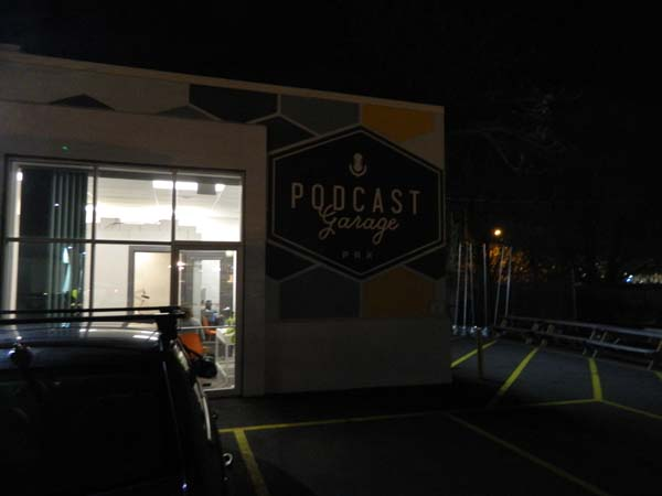 The PRX Podcast Garage at night