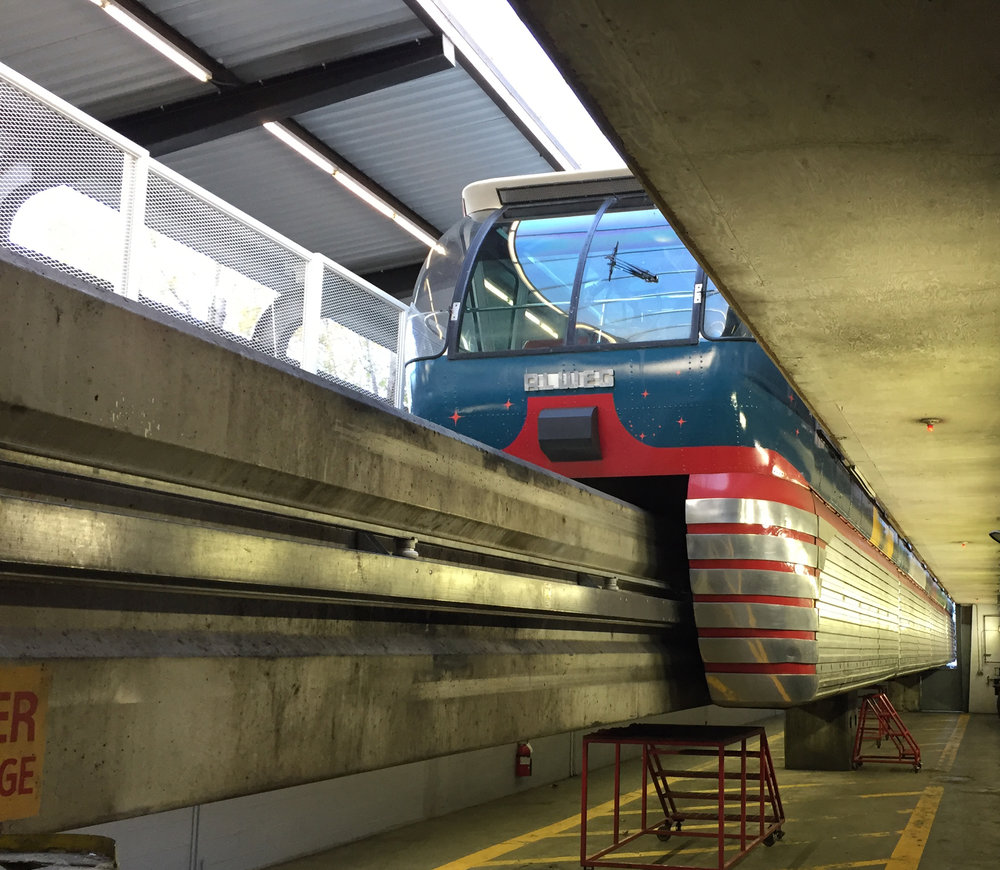The Seattle Center Monorail in its maintenance facility. Photo by Wade Roush.