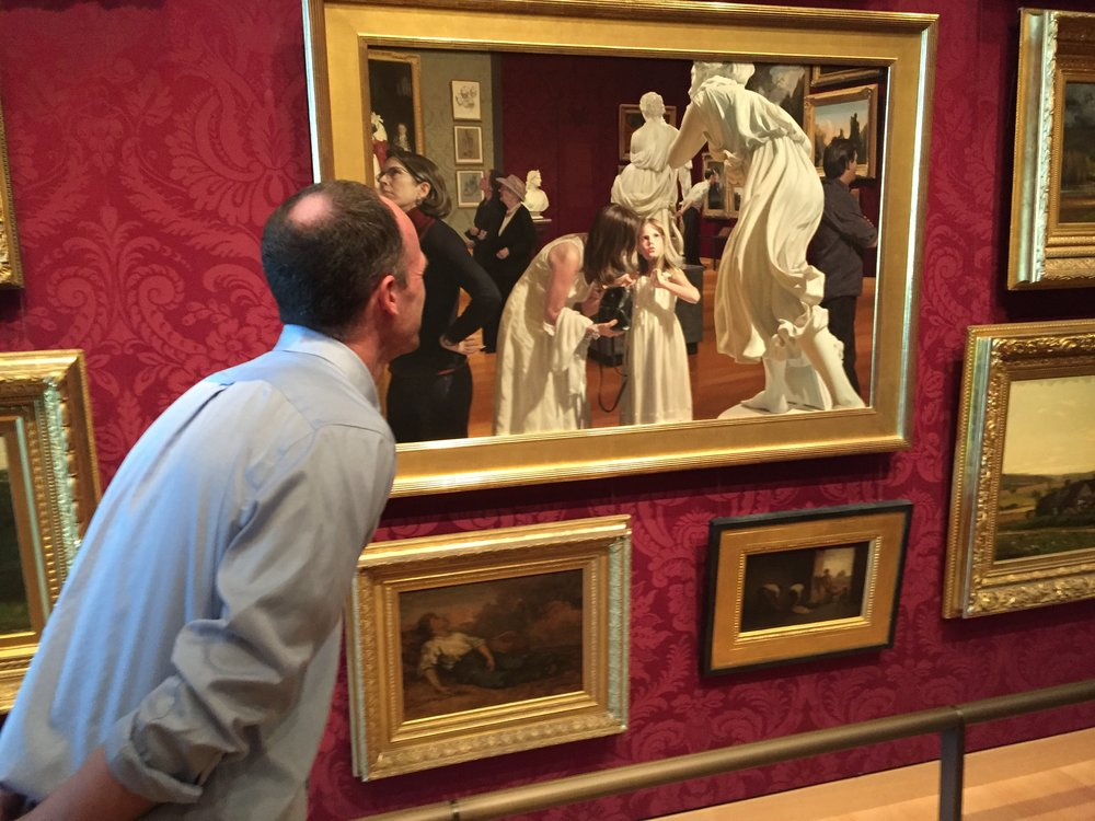 A museum-goer inspects Warren and Lucia Prosperi's Museum Epiphany III at Boston's Museum of Fine Arts. Photo by Wade Roush.