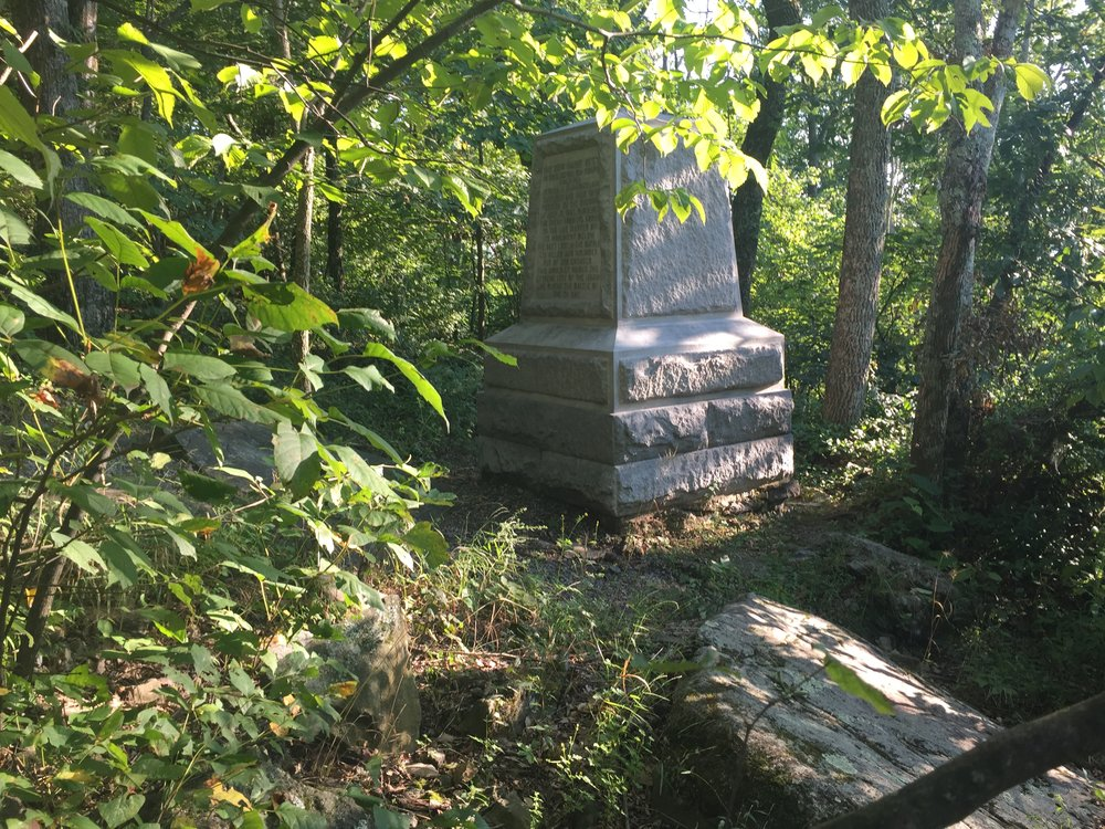 A monument marking the position of the right flank of Lieutenant Colonel Joshua Lawrence Chamberlain's 20th Maine brigade on Big Round Top.