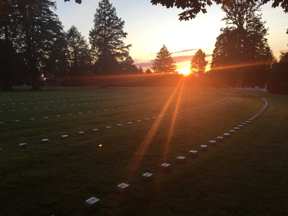 Sunset at the Soldiers' National Cemetery, from the spot where Lincoln delivered his address.