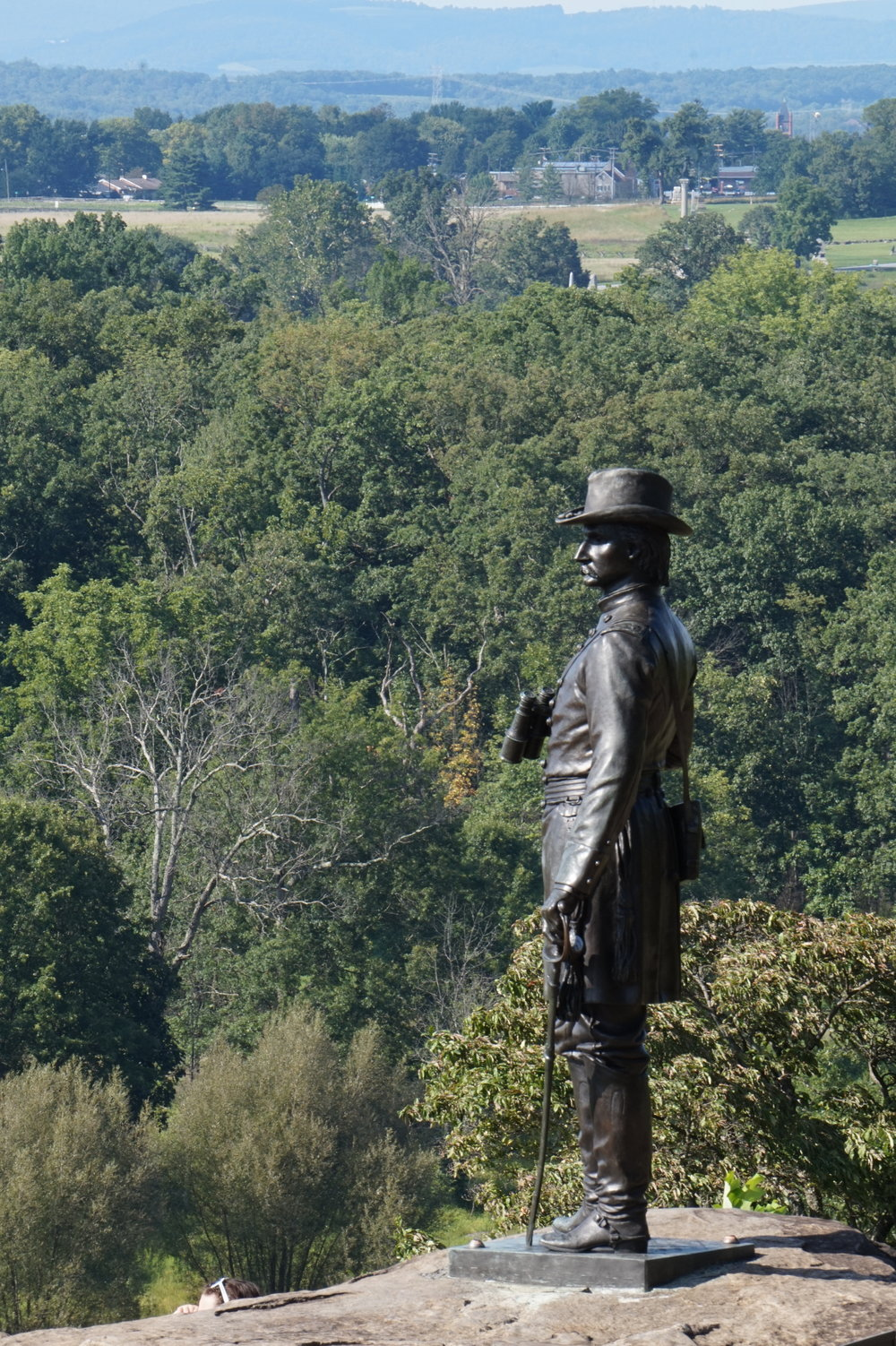 Monument to Governeur Kemble Warren, a military engineer famous for arranging for the last-minute defense of Little Round Top on July 2, 1863.