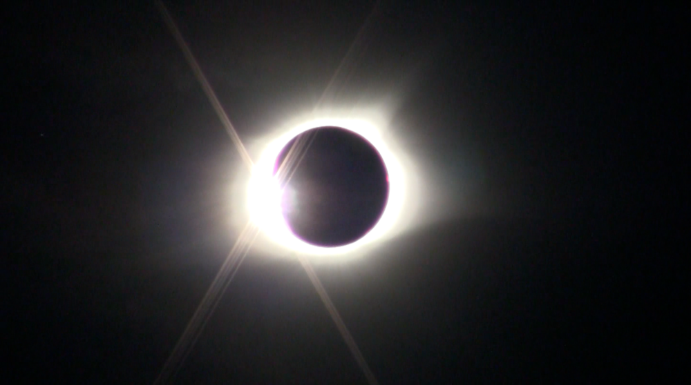 The last moment before totality at 1:21 pm CDT, August 21, 2017. (Still image from the  video  made with my Canon Vixia video camera.)