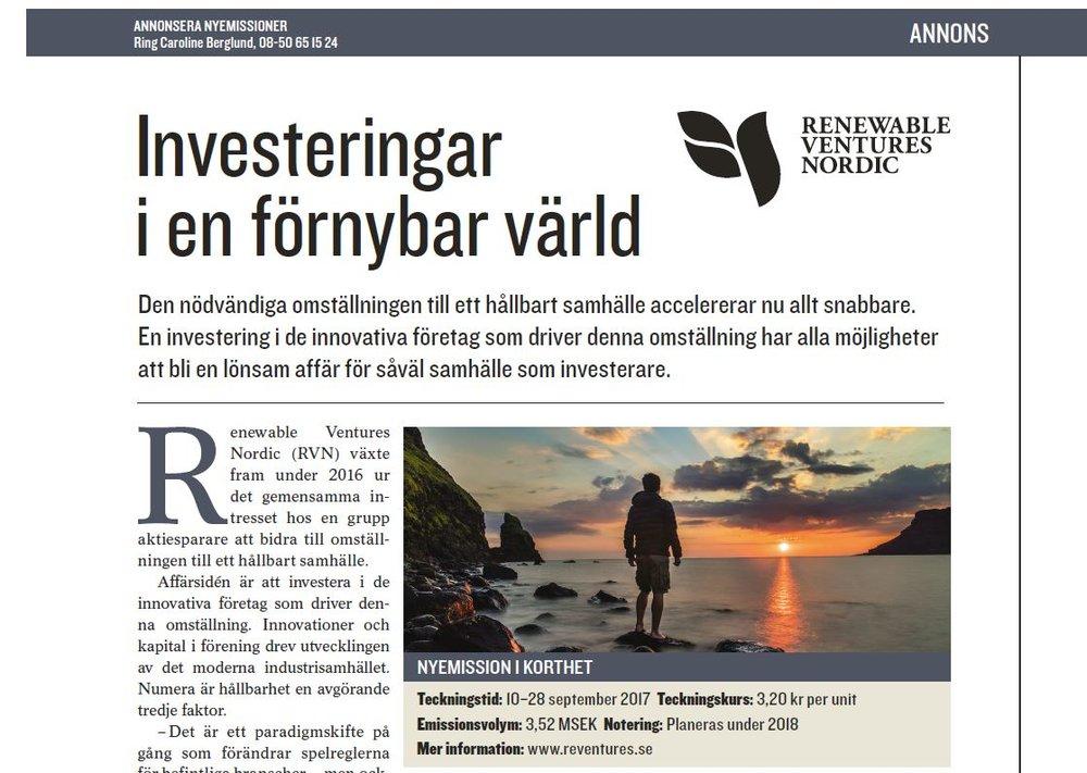 Annons i Aktiespararnas tidning September 2017