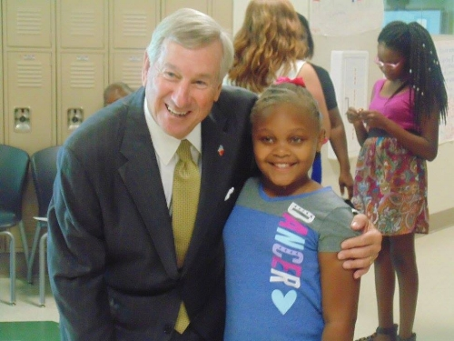 Erikah and Mayor Todd Strange of Montgomery at the National Summer Learning Day Celebration on July 13,2017
