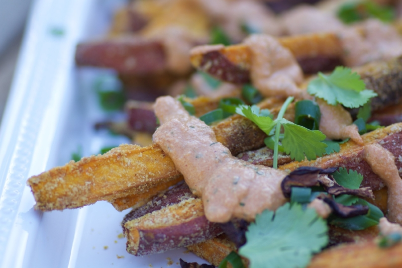 Loaded Sweet Potato Fries Close-up