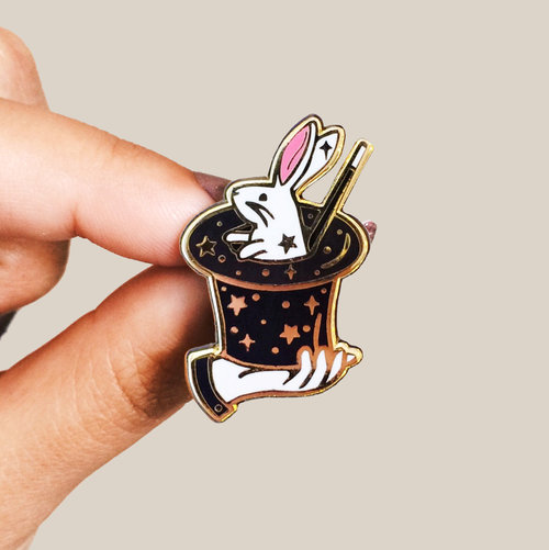 Perfect magic bunny enamel pin — Lilly Baik SJ01