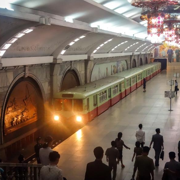 It's a Museum! It's a Nuclear Bunker! It's North Korea's Subway System!    Photos from inside  Pyongyang's subway system show chandeliers, commemorative plaques, and elaborate murals.