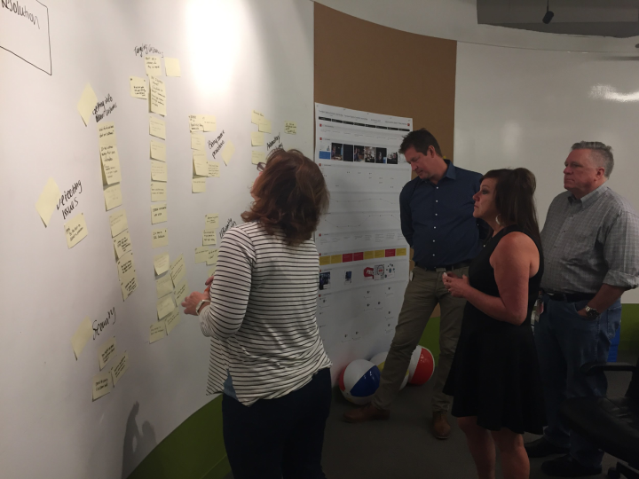 """Team members voting on """"How Might We"""" notes taken during expert interviews."""