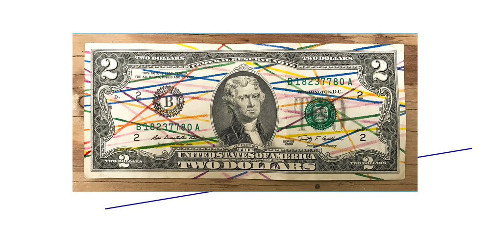 Ink on used United States two-dollar bill, 2013