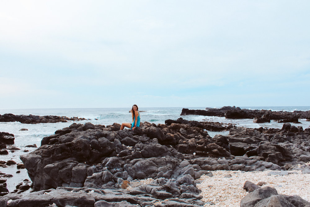 Being goofy and taking some photos on the rocky coast.
