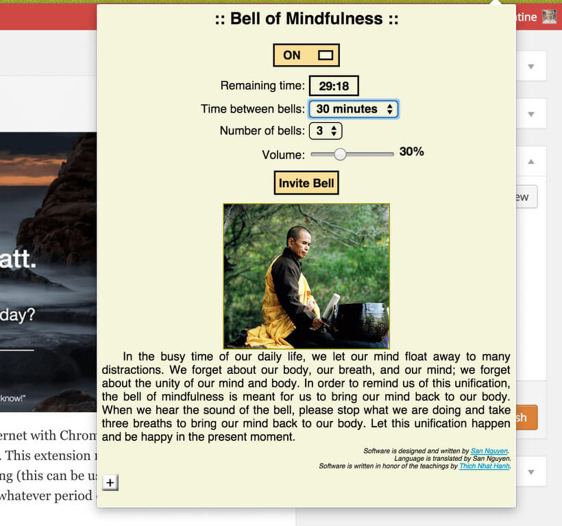 Bell of Mindfulness Chrome Extension via Buddhaimonia