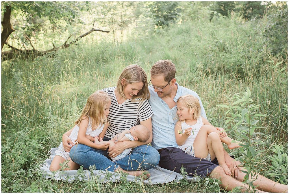 Light and Airy Family Photograph in Fields