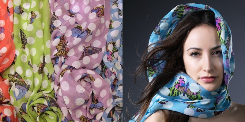 Grand Foulard Butterfly - 100% Silk - 138x138 cm  Price: CHF 450