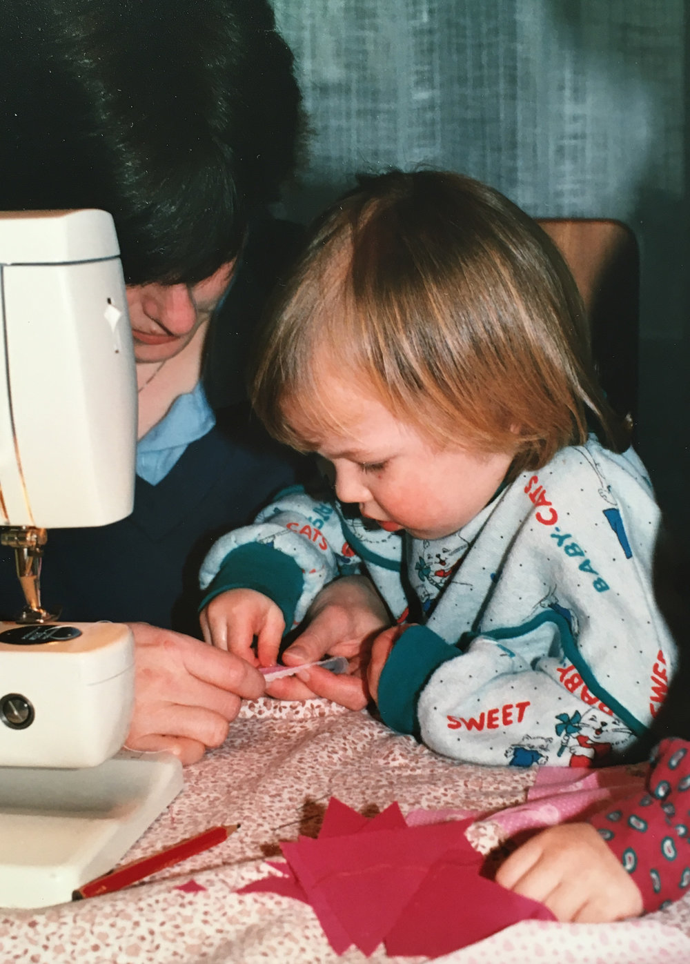 Stefanie, 3 years old sewing with Mommy