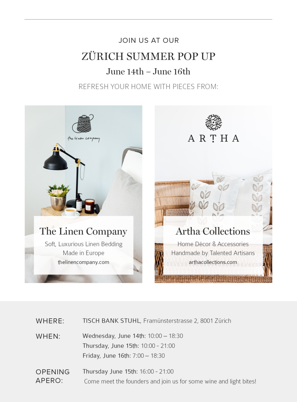 Zürich Summer Pop Up The Linen Company X Artha The Selection By