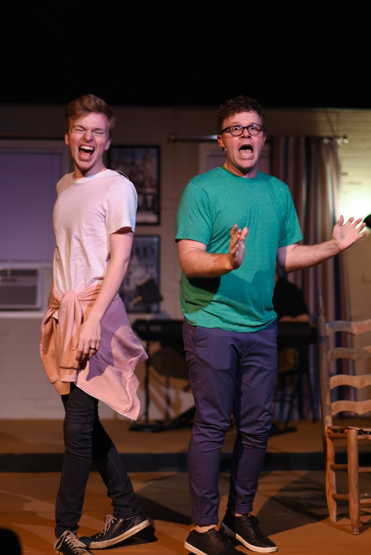 Shane Kopishke and Ryan Greenawalt as Jeff and Hunter in Street Theatre Company's [title of show] by Sarah Johnson