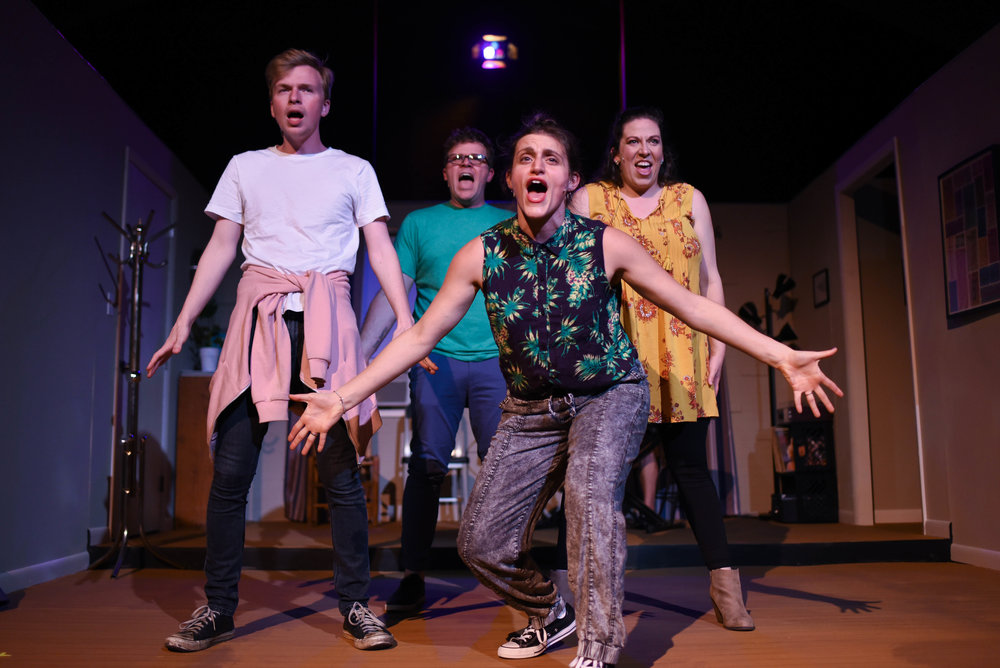Shane Kopishke, Ryan Greenawalt, Katie Bruno, and LaDarra Jackel as Jeff, Hunter, Susan, and Heidi in Street Theatre Company's [title of show] by Sarah Johnson