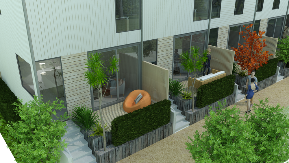 CONCEPT FOR PRIVATE COURTYARDS OVERLOOKING THE POCKET PARK - HOUSES DESIGNED BY COLAB