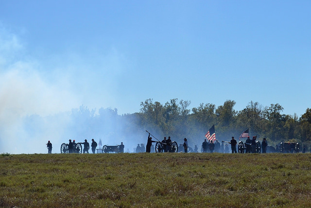 Union soldiers in Civil War re-enactment. Liendo Plantation, TX