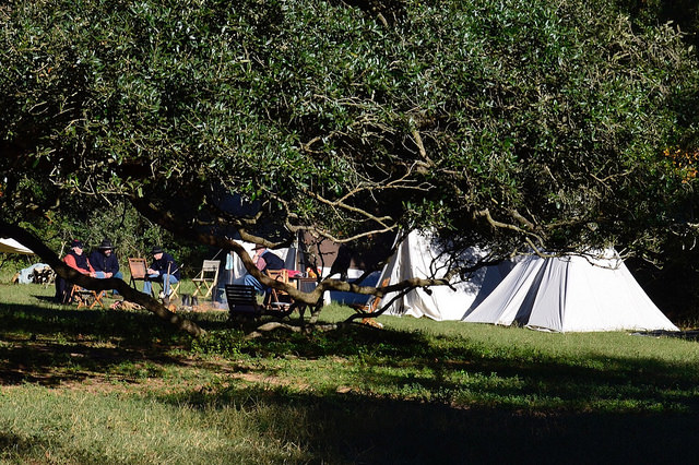 Camp life in Civil War re-enactment. Liendo Plantation, TX