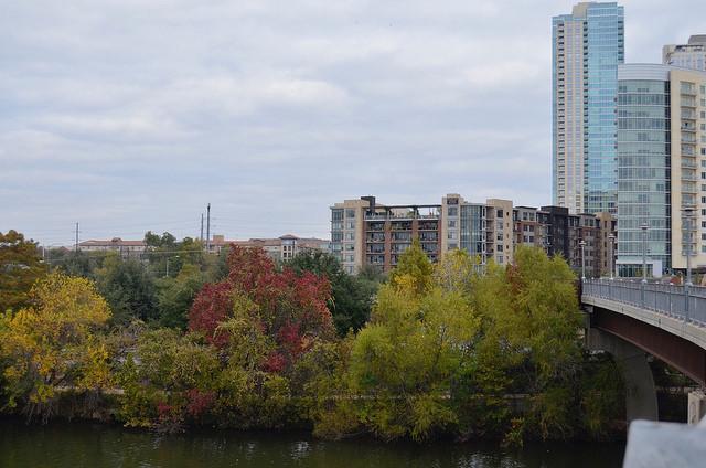 View from walking bridge. Austin, TX