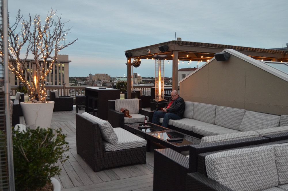 The very inviting roof top bar at The Tremont House.