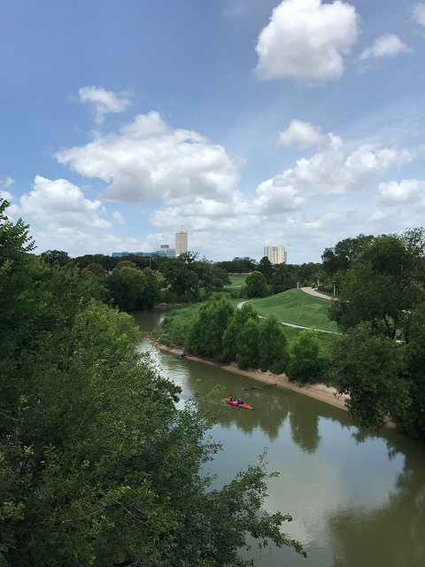 The color of the water in Buffalo Bayou often looks brown. During this visit, it was a very pleasant green.