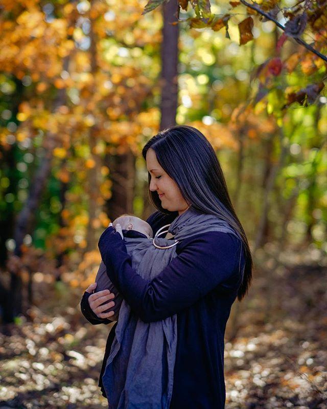 My three favorites; Meg, Eli, and fall foliage. • #fall #family #ringsling #momlife #dadlife #thebump