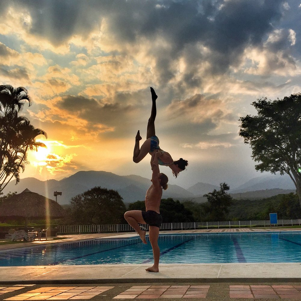 AcroYoga by the Pool