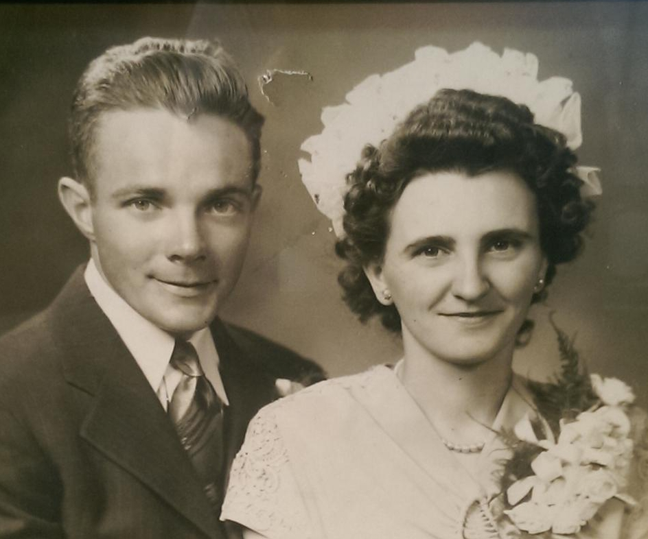 Fred and Alice Wright on their wedding day, June 24, 1946.