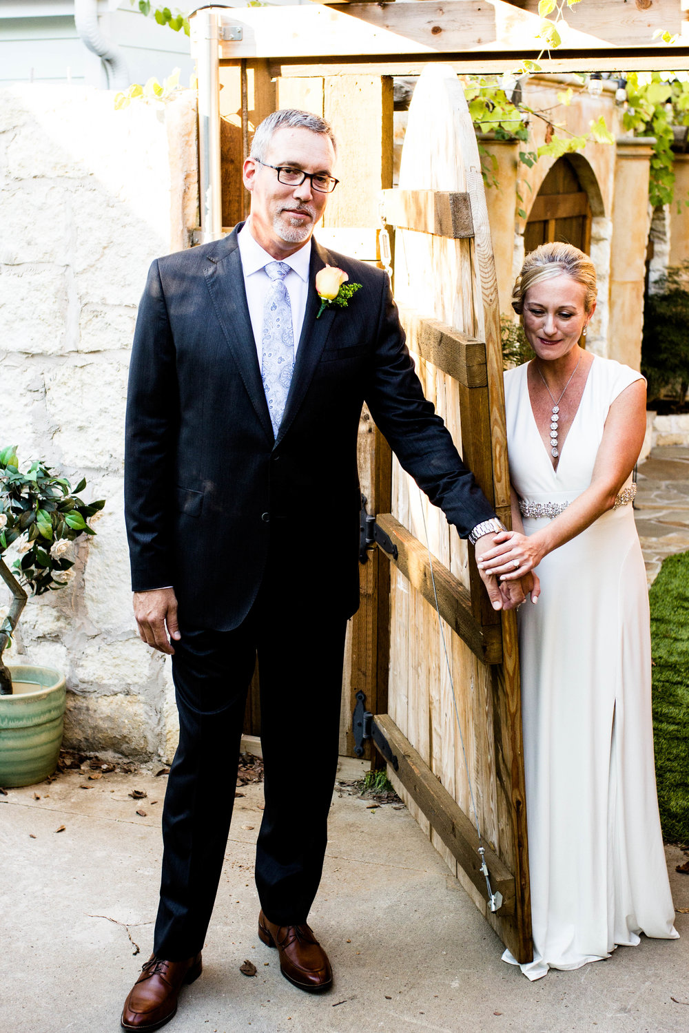 """Dave and Rebecca were so excited to hear each other's voices a few minutes before walking down the aisle. Their """"First Touch"""" was so tender."""
