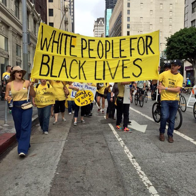 White People 4 Black Lives (WP4BL) is a white anti-racist collective and activist project of AWARE. We also operate within a national network of white anti-racists called Showing Up for Racial Justice (SURJ). Our work includes acting in solidarity with the Movement for Black Lives, Black Lives Matter: Los Angeles, and other partners.    Learn more