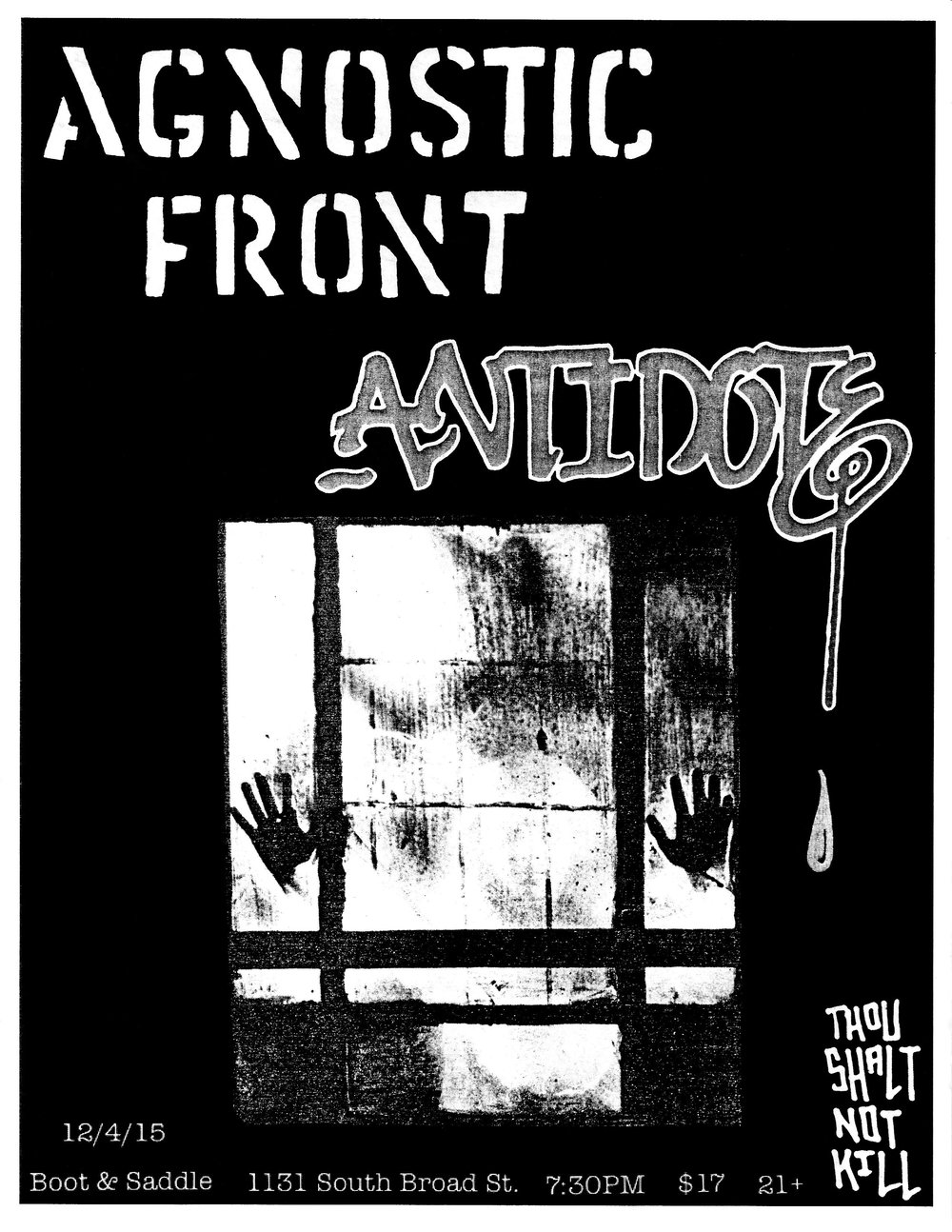 2) AF - I had one goal with this one, and that was to make a flyer that gave off an A7 '83 vibe. The image came from the pages of a horror film book that I purchased at Book Trader in Olde City (and subsequently fell apart). This was assembled on the fly at the my most hated location, the Oregon Avenue Staples copy center. Truly a hell on earth.