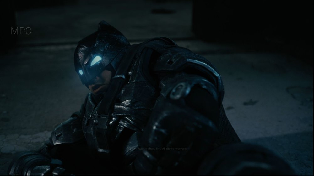 Responsible for Batman Look Development and Shot Lighting. Full CG Batman except for the helmet and face in this shot.