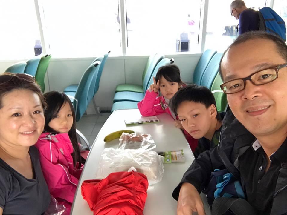 The family on the Fullers ferry to Tiritiri Matangi Open Sanctuary.