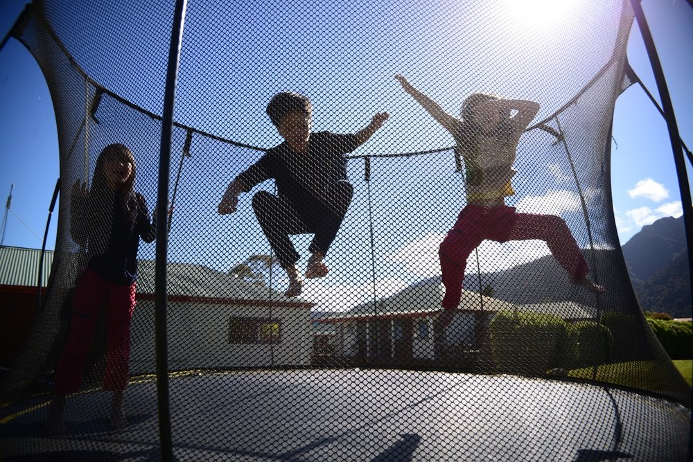 Trampolines were a big hit with the kids at the TOP 10 holiday park in Fox Glacier and Franz Josef.