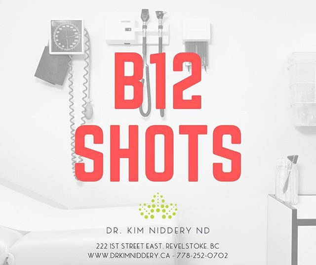 💉Now offering Vitamin B12 Shots! . ⭐️Intramuscular injections of B12 are a preferred option because of their direct and immediate absorption into the blood stream! You retain almost all of the B12 as none of it gets lost in the digestive process. . ⭐️Powerhouse of a vitamin! Endless list of things that helps with so many different systems and processes. It is an essential vitamin to stay in balance. Found mostly in meat and eggs, so even more essentially to supplement when you are vegetarian or vegan . 💉B12 shots are safe - basically anyone can get them. Safe for anyone over 16yo, and even especially indicated for pregnant women! . 💉B12 increases metabolism – and a side effect from this can be weight loss . 💉B12 boosts energy – through how much it helps oxygenate your red blood cells . 💉B12 is a mood booster – part of healthy nervous system . 💉B12 maintains a proper functioning cardiovascular system . 💉B12 helps with sleep . 💉B12 optimizes neurological function – helps with the prevention and treatment of diseases like Alzheimers and Parkinsons disease . ⭐️The recommended dosage is 3-4 the first week, then weekly for 4 weeks, then monthly, or every other week – whatever works best for you! ——————————————— Call or book online: http://www.drkimniddery.ca (link in bio) 778-252-0702 $20 —————————————- 💉Who is it the most INDICATED for: - Anyone over 50 years old – as we age we become even more rapidly depleted in this essential vitamin and are even more likely to be deficient -Pernicious anemia -Hypochlorhydria -GI Disorders (Crohn's disease, celiac disease, etc) -Patients with GI resection or surgery -Vegans or Vegetarians -Pregnant or breastfeeding women -Dementia -Reduced cognitive function -People on PPI's -People with fibromyalgia -Anyone trying to loose weight -If you suffer from depression, anxiety, or mood swings -If you suffer from fatigue -Drink alcohol regularly -Have difficulty sleeping, concentrating or have poor memory -Having Fertility issues  #vitaminb12shot #naturopathicmedicine #therealstoke #healthandwellness #revelstoke #familymedicine #preventativemedicine #naturecure #revy #kootenaylife