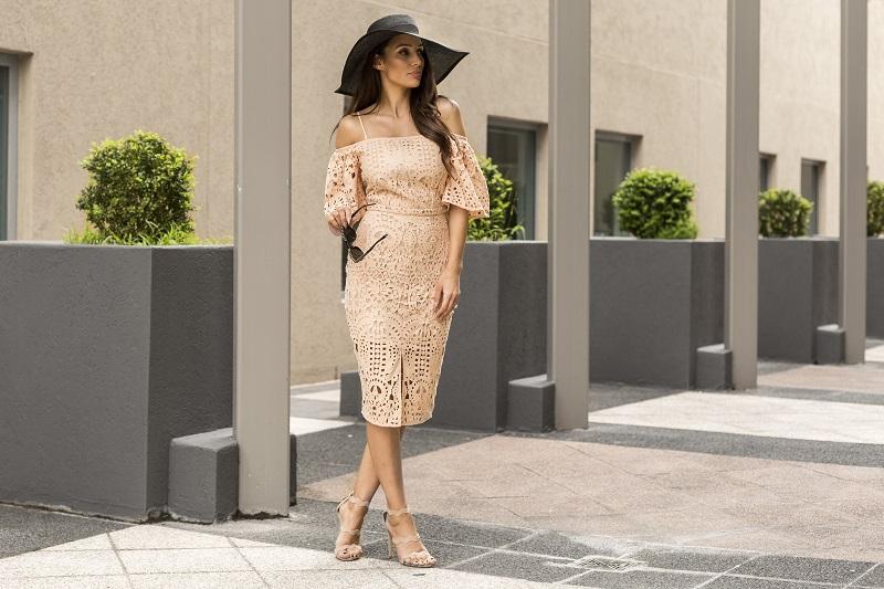 Blush Lace Dress | Cooper St  Sunglasses | Celine  Shoes | Tony Bianco
