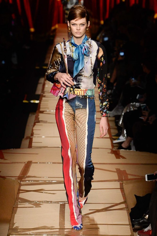 "I'm praying the ""underwear on the outside"" print look at Moschino doesn't take off."