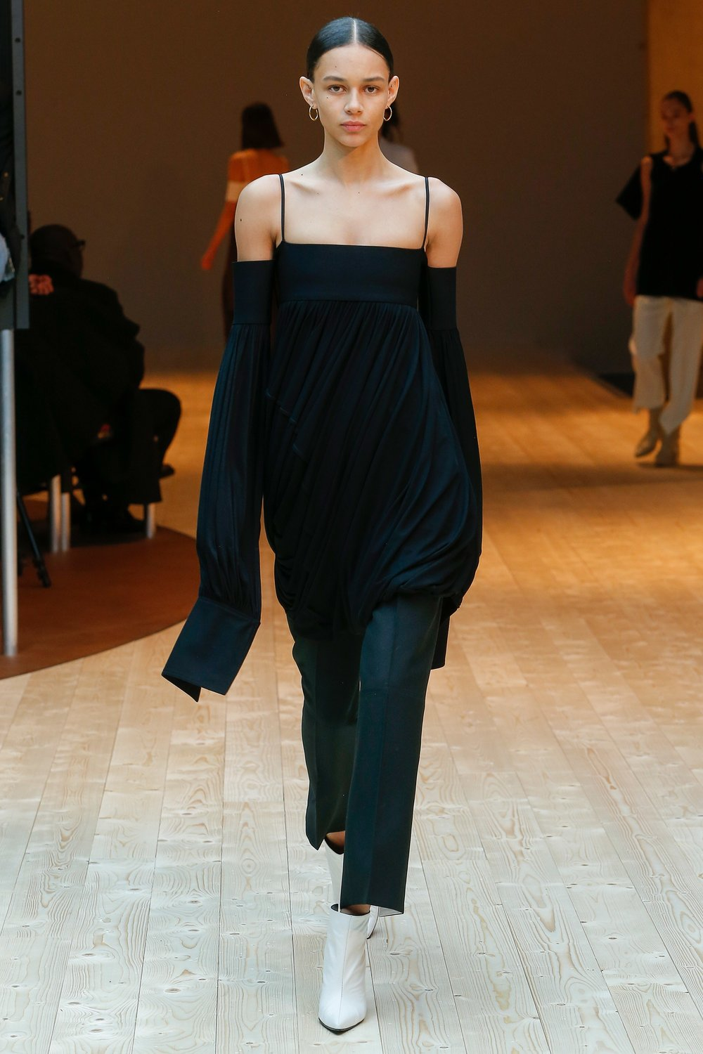 The mix of bare shoulders and structured cuffs was delicious at Celine.