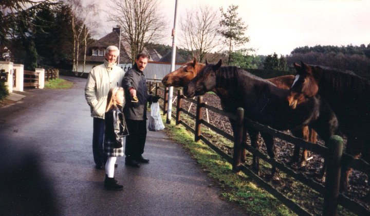 Opa, Dad & me feeding the horses in Vicht, Germany