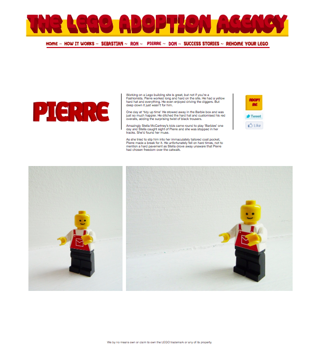 We run the world's only adoption agency for Lego people. -
