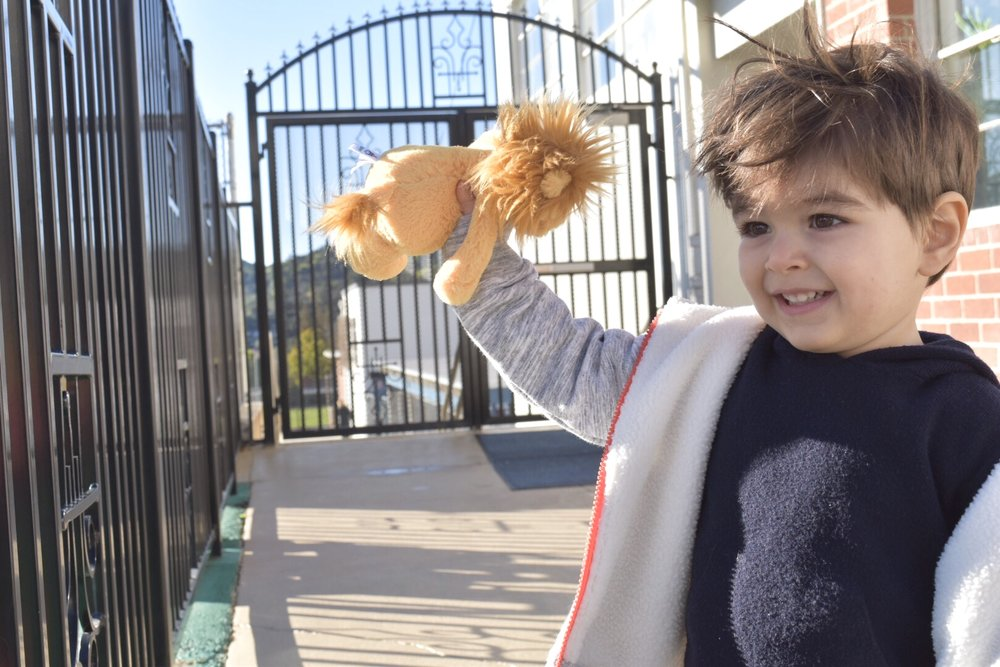 Leo smiling and holding toy lion, excited for his first day of preschool.