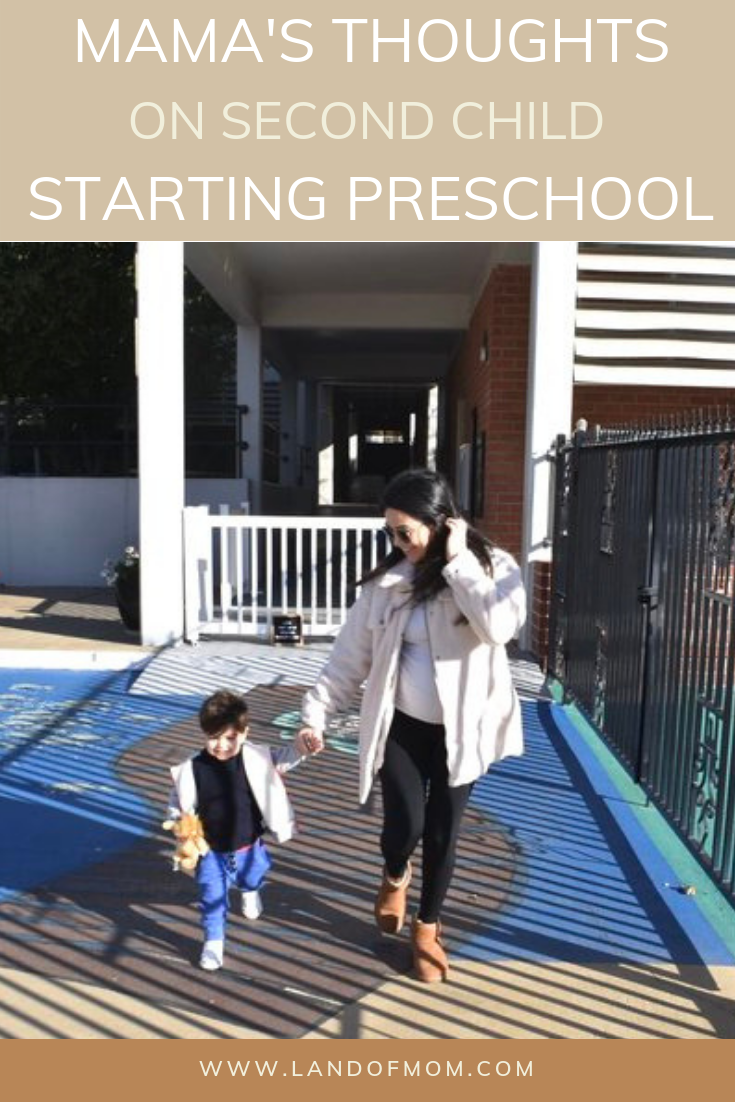 """Pinterest Graphic for """"Mama's Thoughts on Second Child Starting Preschool"""""""